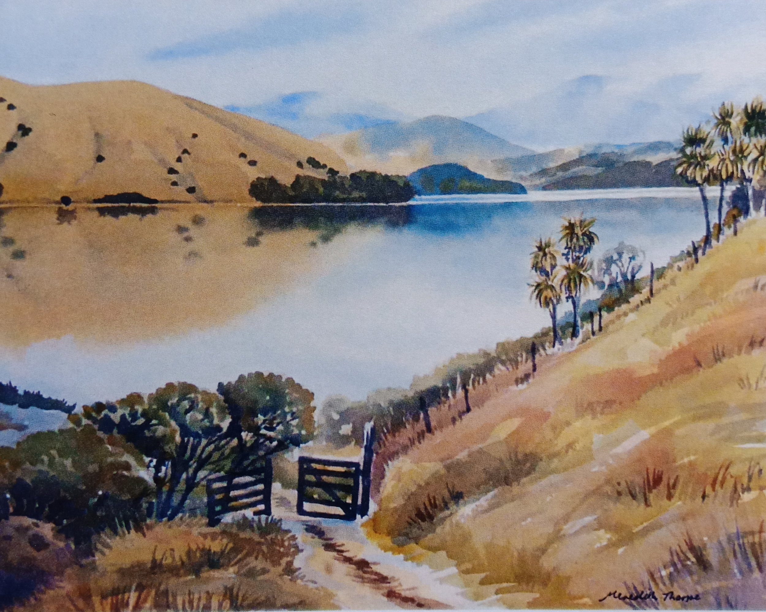 Misty Morning - Cable Bay  (2014). Watercolour on paper 265mm x 380mm Frame 500mm x 600mm