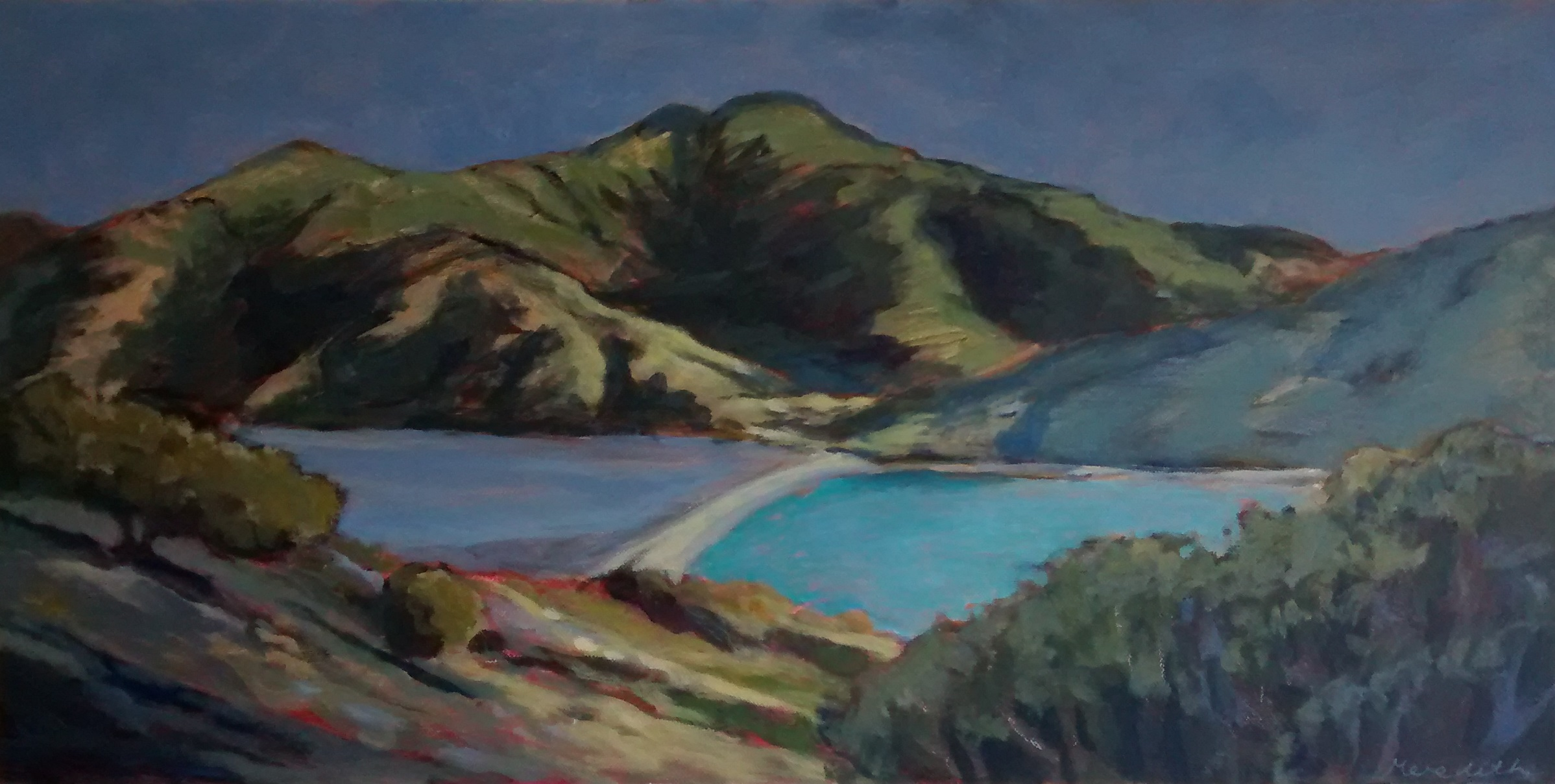 The Mainland from Pepin Island  (2014) Acrylic on canvas 375mm x 755mm