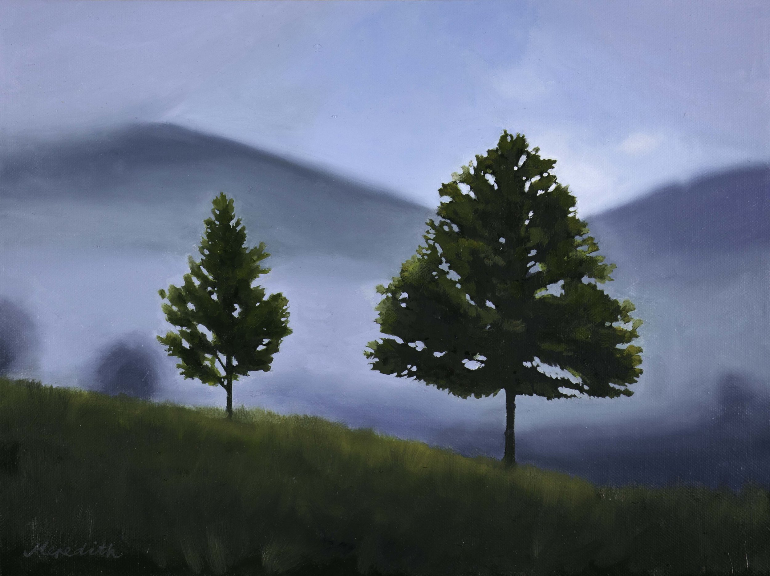 Maitai Morning Mist, Nelson  (2018). Oil on canvas (framed) 400mm x 300mm