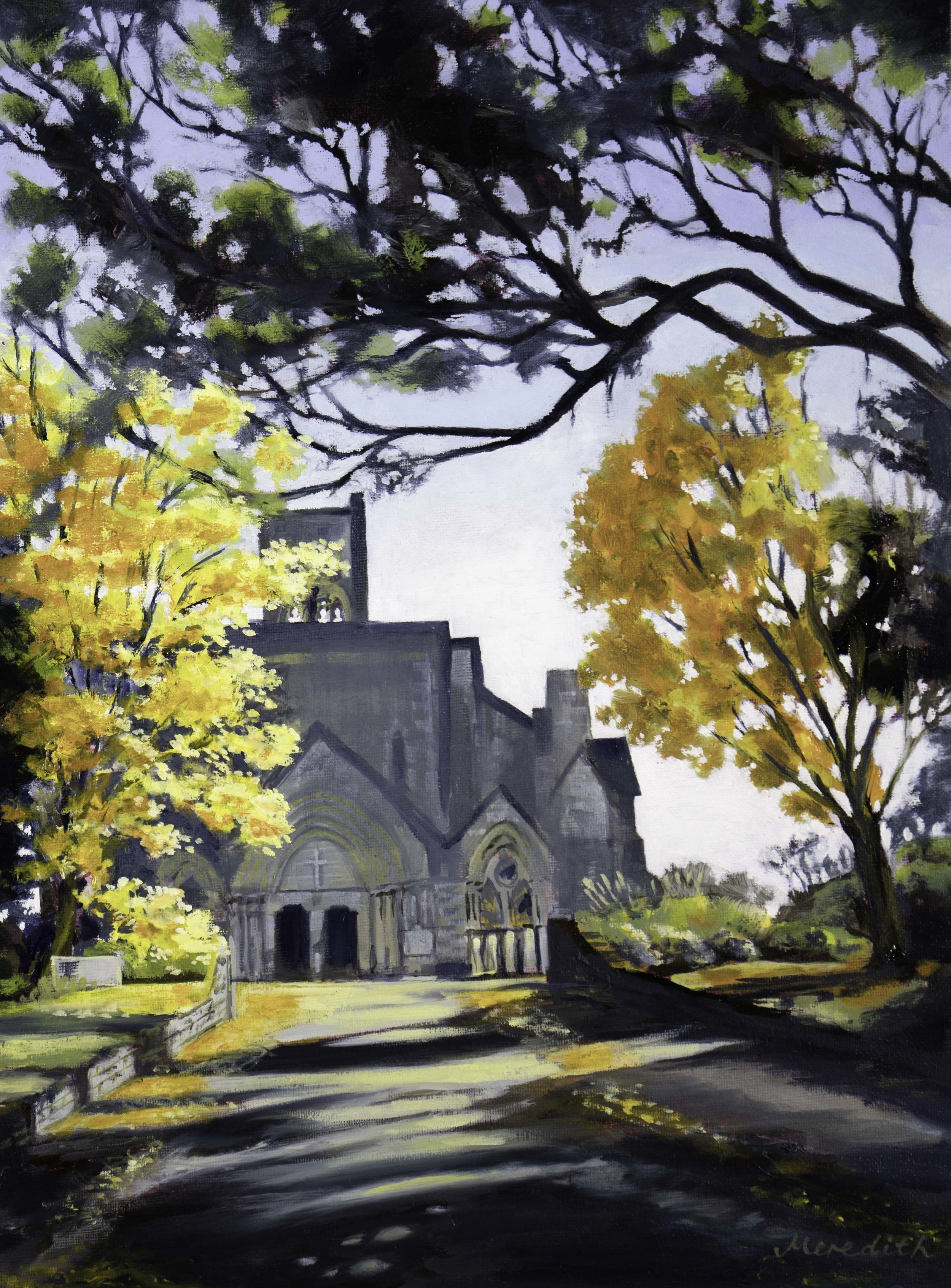 Nelson Cathedral 2018 oil on panel (framed) 400mm x 300mm