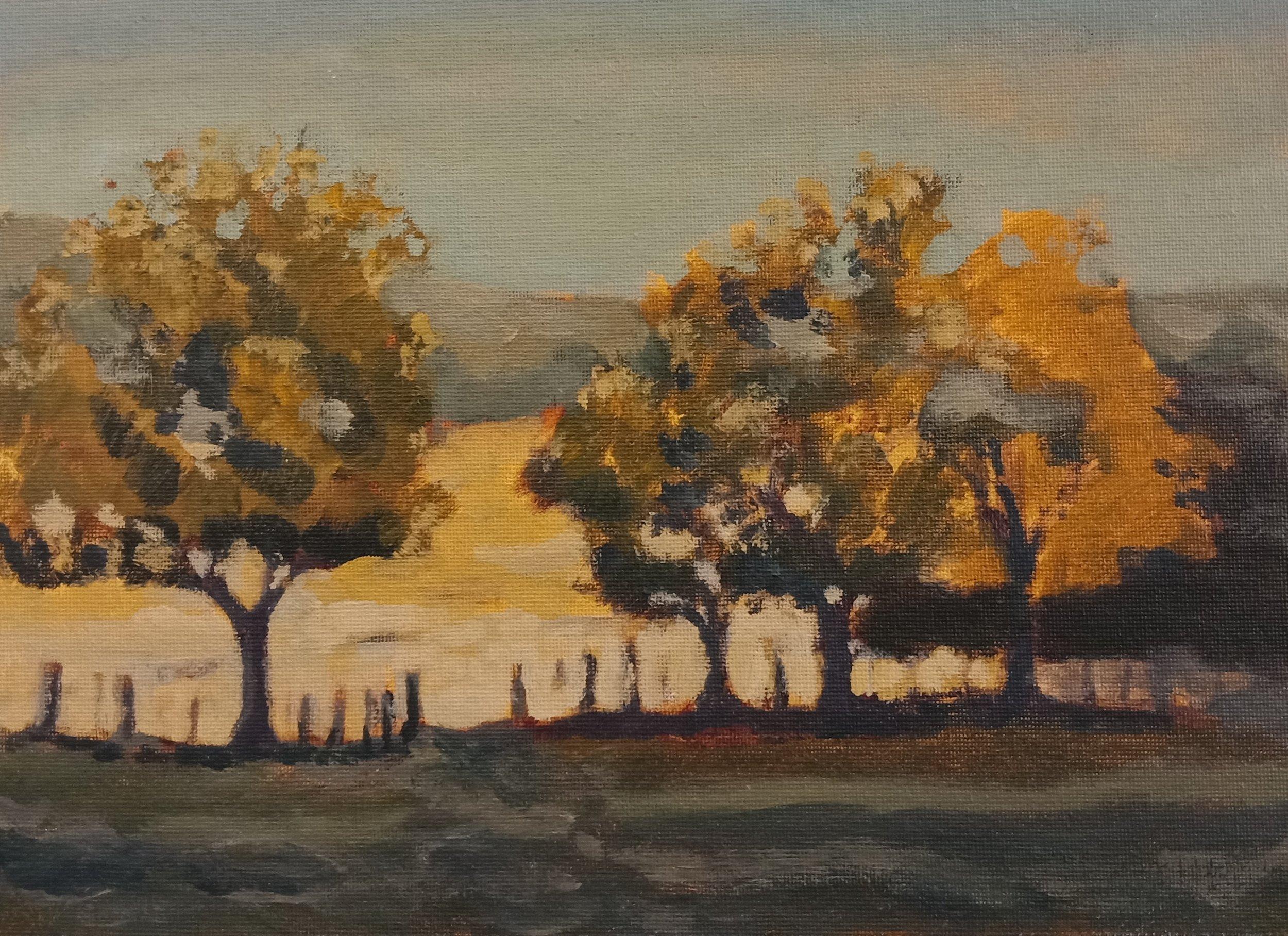 Autumn Trees  (2018). Acrylic on panel 300mm x 230mm