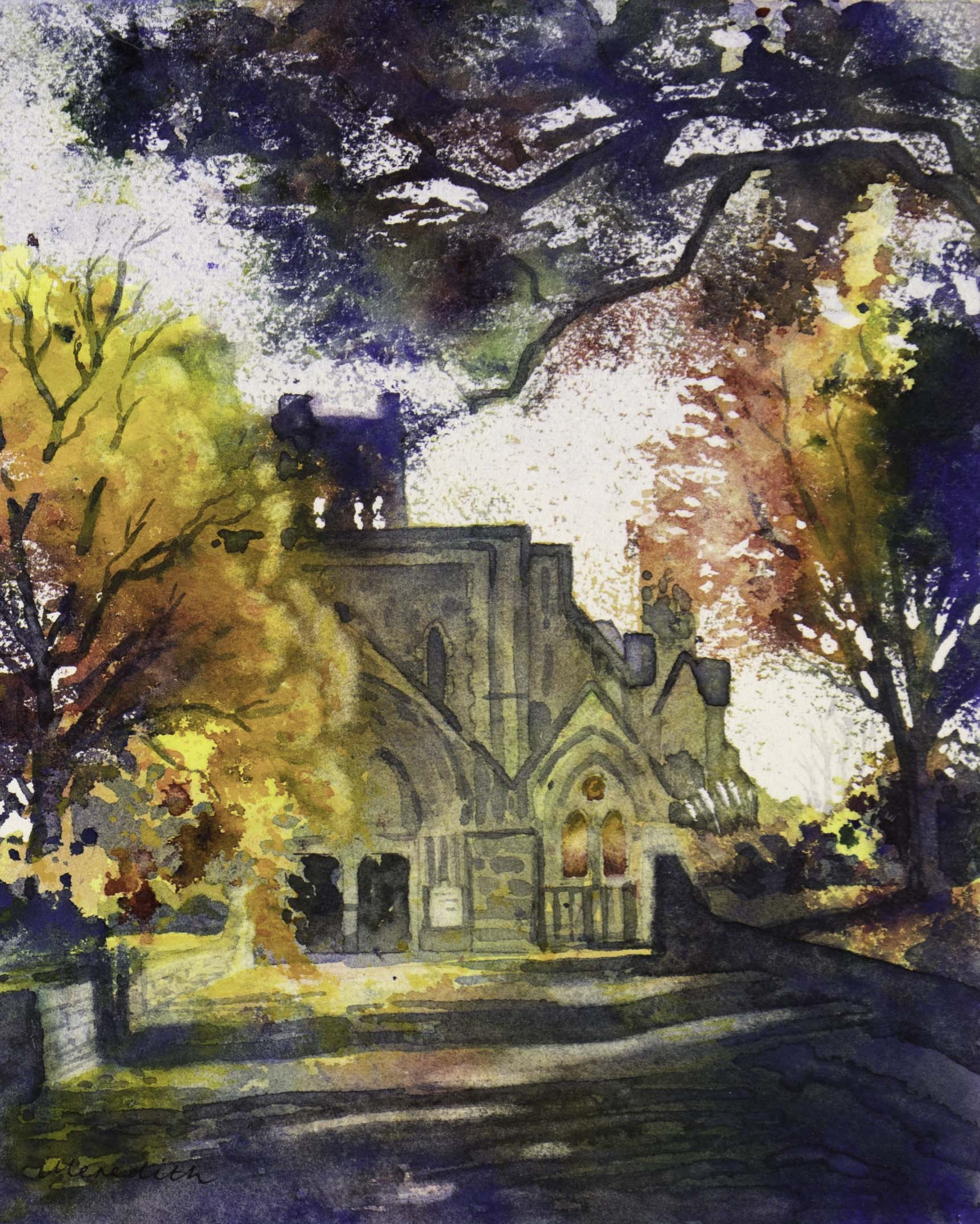 Nelson Cathedral II.  (2018). Watercolour on paper (framed)