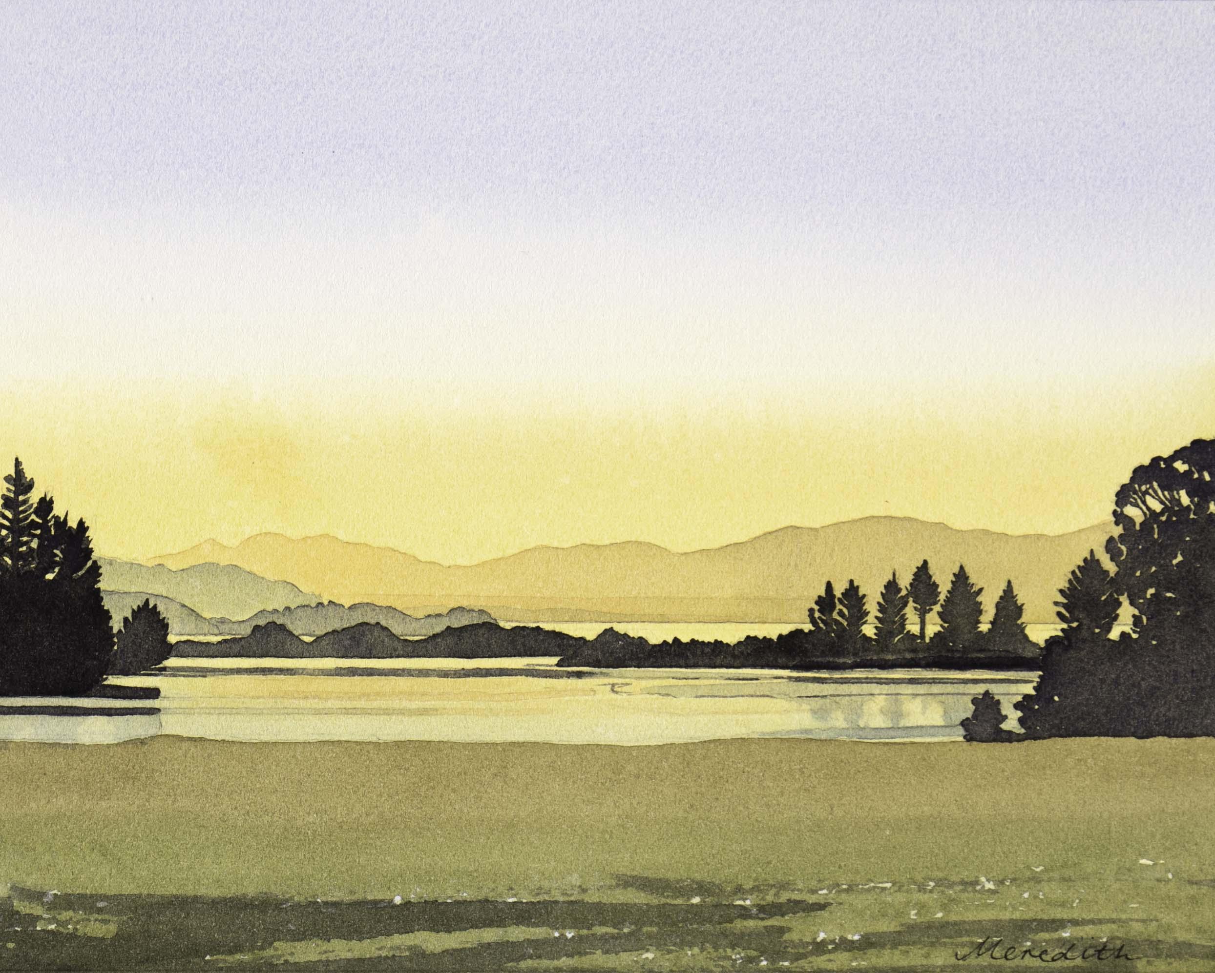 Golden Bay Sunset from Clifton 2018  Watercolour on paper (framed).jpg
