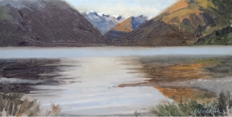 Lake Rotoiti Early Morning Mist  (2019). 205 mm x 405 mm. Oil on Canvas. Available  as a card  (#53)