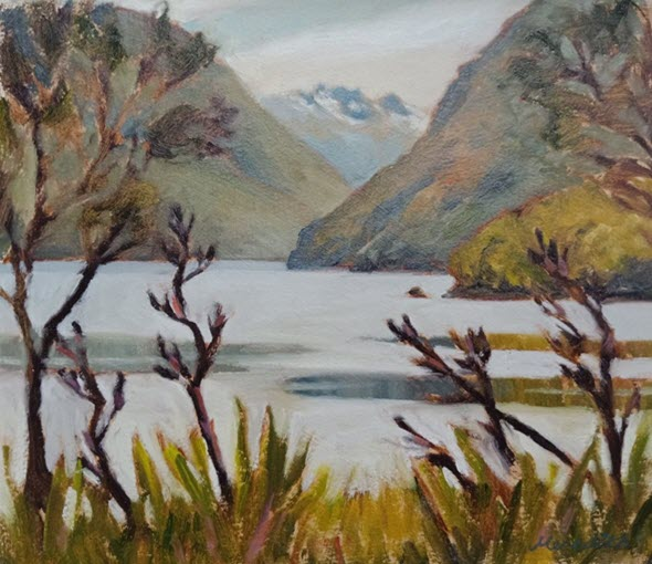 Lake Rotoiti Through Flax  (2019). 255 mm x 295 mm. Oil on Arches Paper (framed). Available  as a card  (#55).
