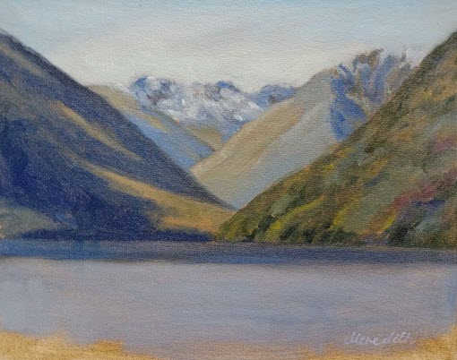 Lake Rotoiti: Lake Head Morning  (2019). 200 mm x 255 mm. Oil on Canvas Panel (framed). Available  as a card  (#58).