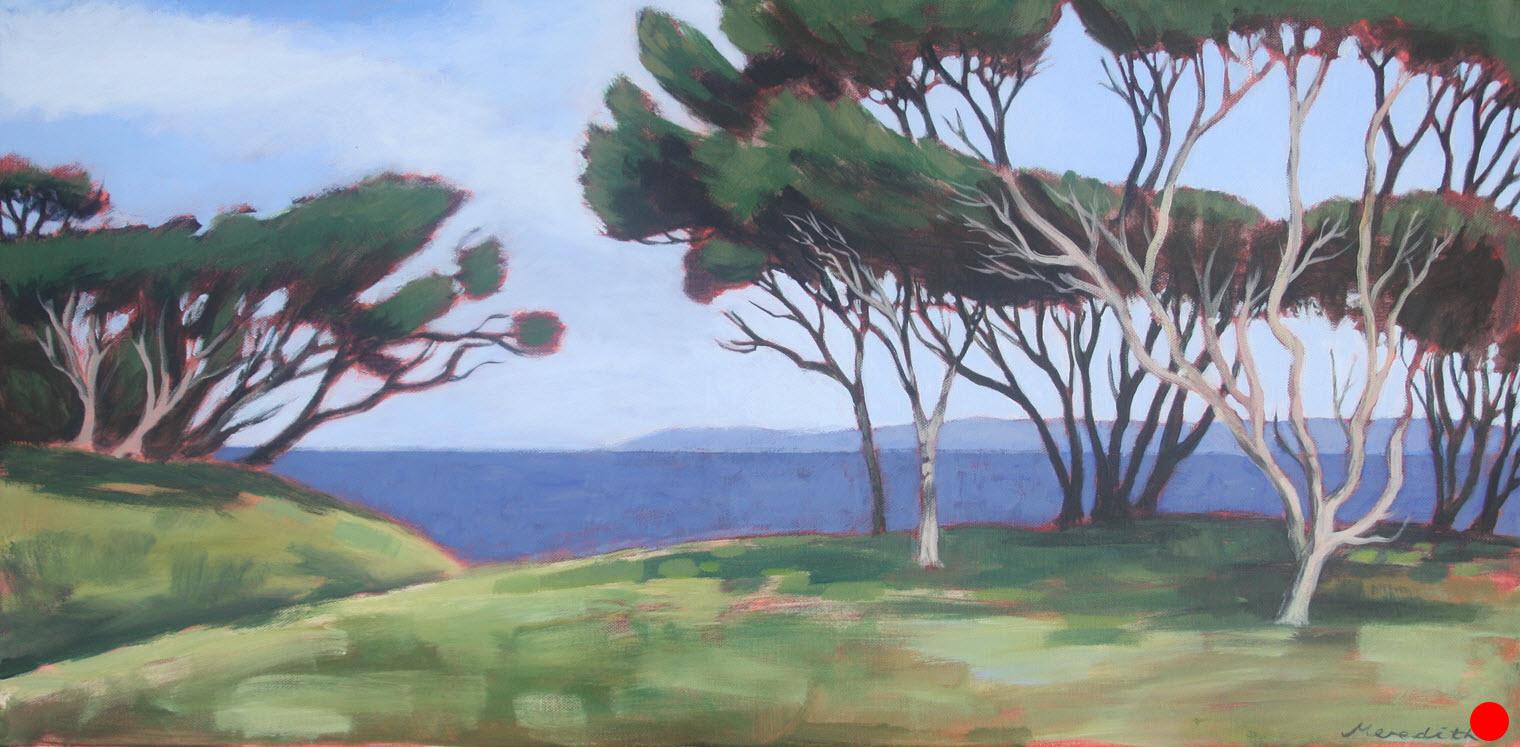 Manuka III, Wharariki, Golden Bay  (2016). 380 mm x 760 mm. Acrylic on Canvas. Available  as a card  (#7).