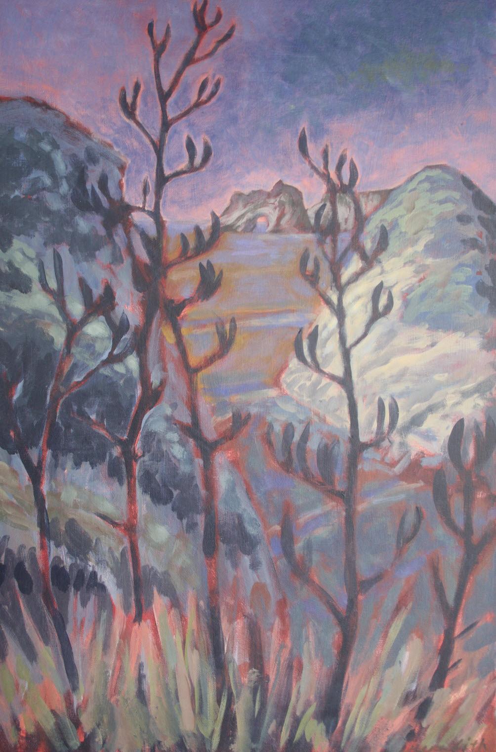 Coastal Flax, Wharariki, Golden Bay  (2018). 760 mm x 500 mm. Acrylic on Canvas. Available  as a card  (#4).