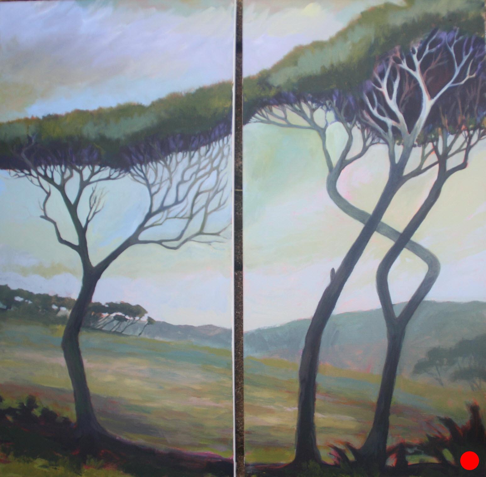 Manuka Diptych, Wharariki, Golden Bay  (2018). 760 mm x 380 mm (x2). Acrylic on Canvas. Available  as a card  (#3).