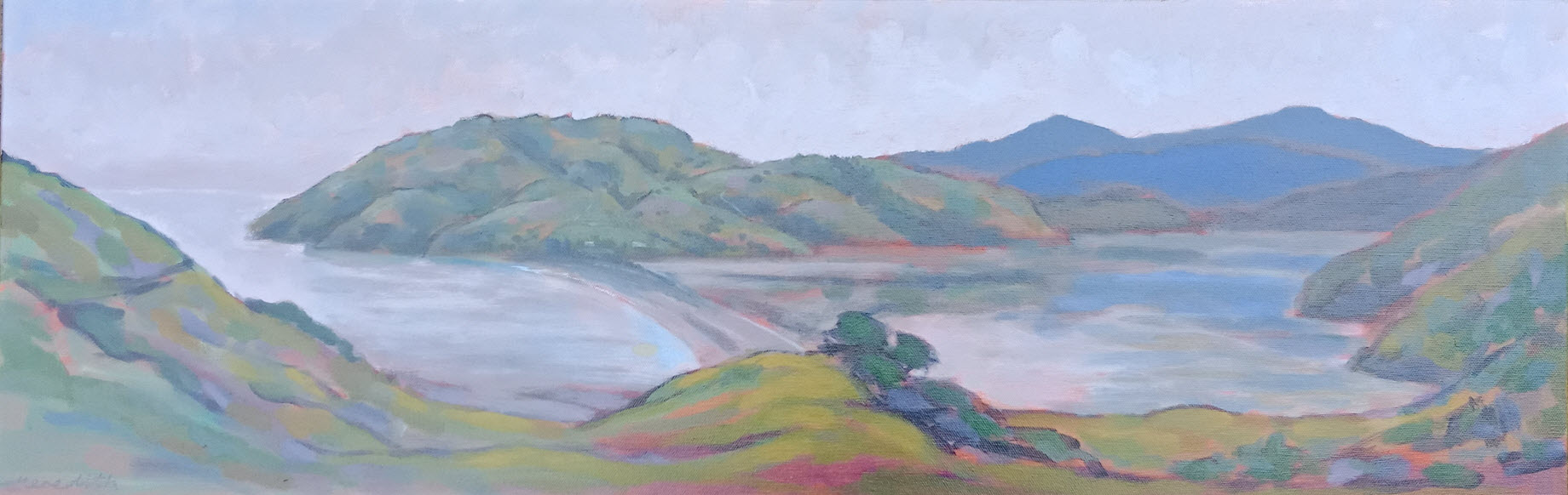 Pepin Island from the Mainland, Nelson  (2017). 310 mm x 920 mm. Acrylic. Available  as a card  (#14).