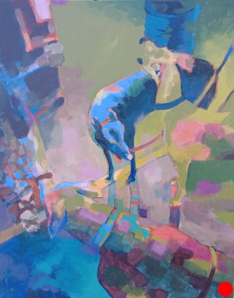 Greyhound Meet  (2018). 500 x 400. Acrylic on Panel.