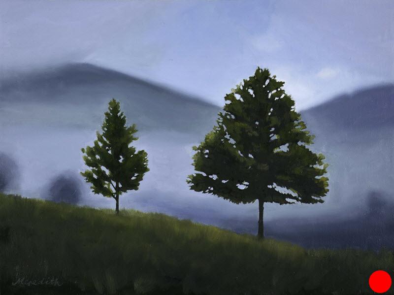 Maitai Morning Mist, Nelson  (2018). 300 mm x 400 mm. Oil on Canvas (framed). Available  as a card  (#49).