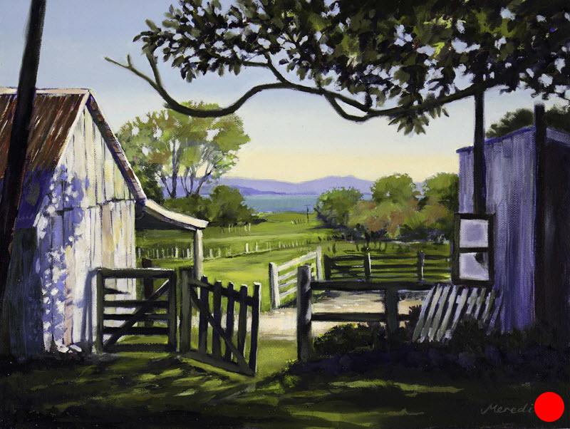 The Home Farm, Golden Bay  (2018). 300 mm x 400 mm. Oil on Canvas (framed). Available  as a card  (#45).