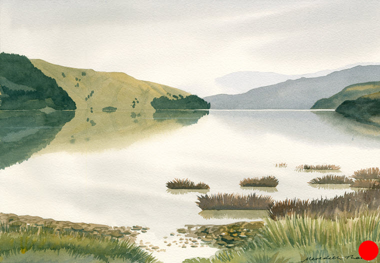 Cable Bay Towards Delaware  (2014). 265 mm x 380 mm. Watercolour on Paper (framed). Available  as a card  (#17).