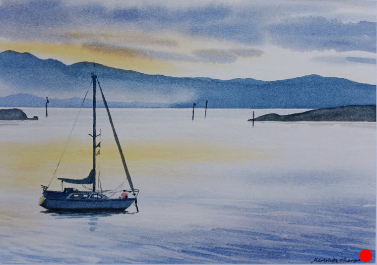 Safe Harbour - Nelson  (2014). 265 mm x 380 mm. Watercolour on Paper. Available  as a card  (#16).