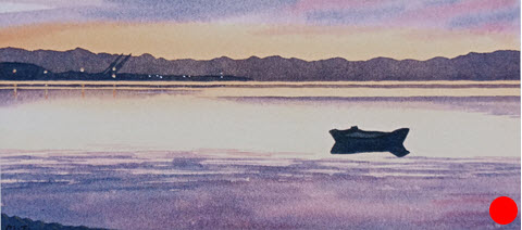 Port Nelson Sunset  (2014). 110 mm x 240 mm. Watercolour on Paper. Available  as a card  (#23).