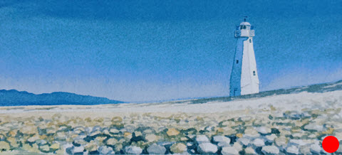 The Light House - Nelson  (2014). 110 mm x 240 mm. Watercolour on Paper. Available  as a card  (#18).