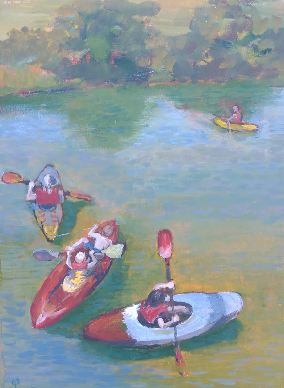 Maitai Kayaks  (2013). 400 mm x 355 mm. Acrylic on Board.