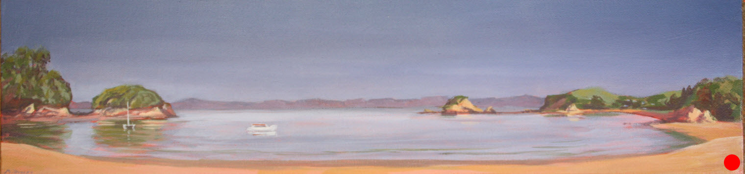 Abel Tasman Summer  (2014). 250 mm x 760 mm. Acrylic on Canvas.