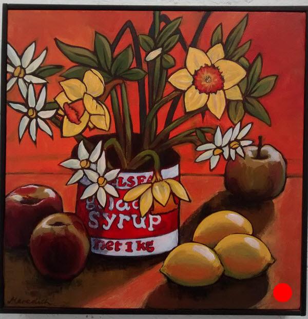Daffodils  (2014). 300 mm x 300 mm. Acrylic on Canvas (framed).