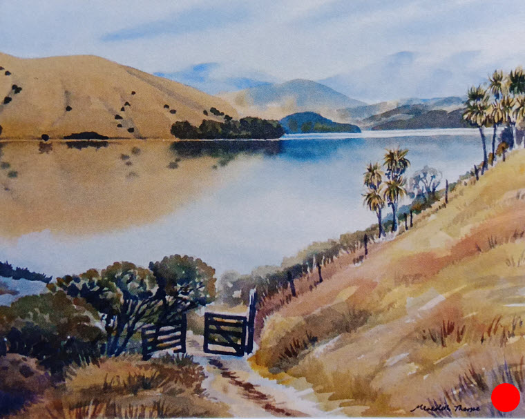 Misty Morning - Cable Bay  (2014). 265 mm x 380 mm. Watercolour on Paper. Available  as a card  (#20).