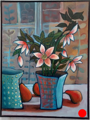 Winter Roses  (2014). 400 mm x 300 mm. Acrylic on Canvas (framed).