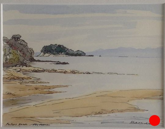 Porter's Beach, Abel Tasman  (2015). 220 mm x 270 mm. Framed Watercolour.