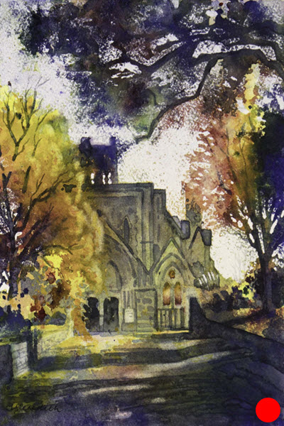 Nelson Cathedral II  (2018). 300 mm x 200 mm. Watercolour on Paper (framed).