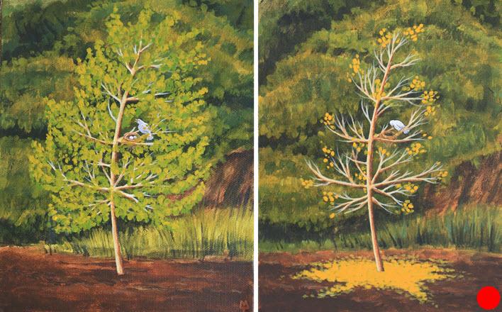 Seasons  (2013). 220 mm x 180 mm (x2). Acrylic on Canvas. Available  as a card  (#42).