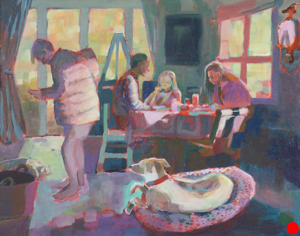 Family Breakfast  (2018). 405 mm x 510 mm. Acrylic on Canvas.