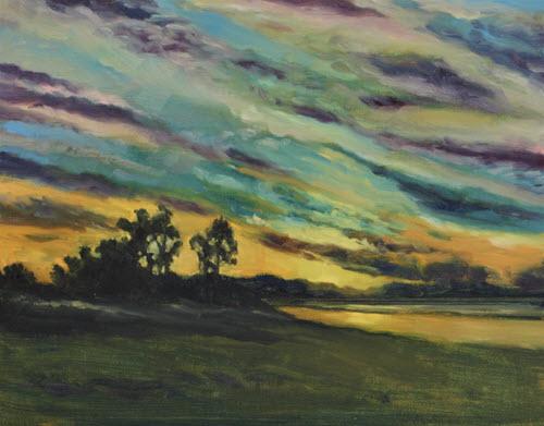 Tahunanui Sunset  (2019). 200 mm x 250 mm. Oil on Panel.