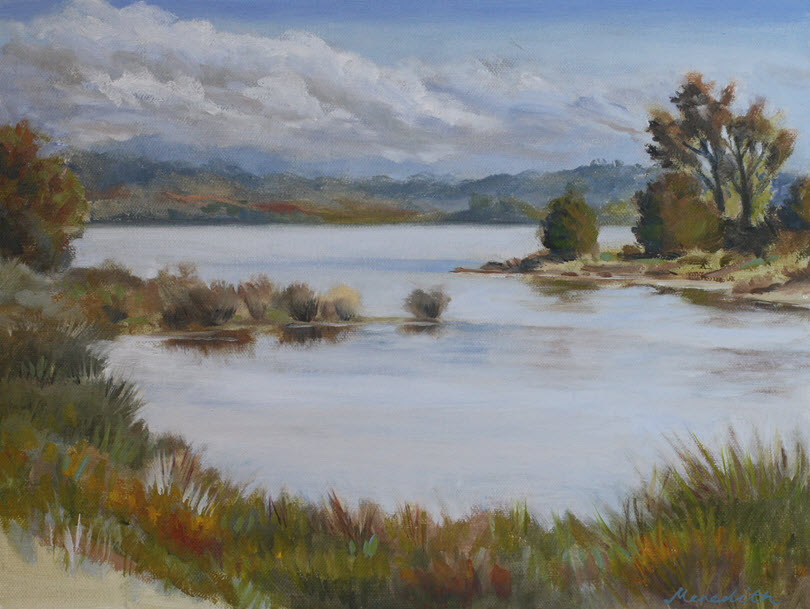 Estuary from Rough Island  (2019). 305 mm x 405 mm. Oil on Canvas.