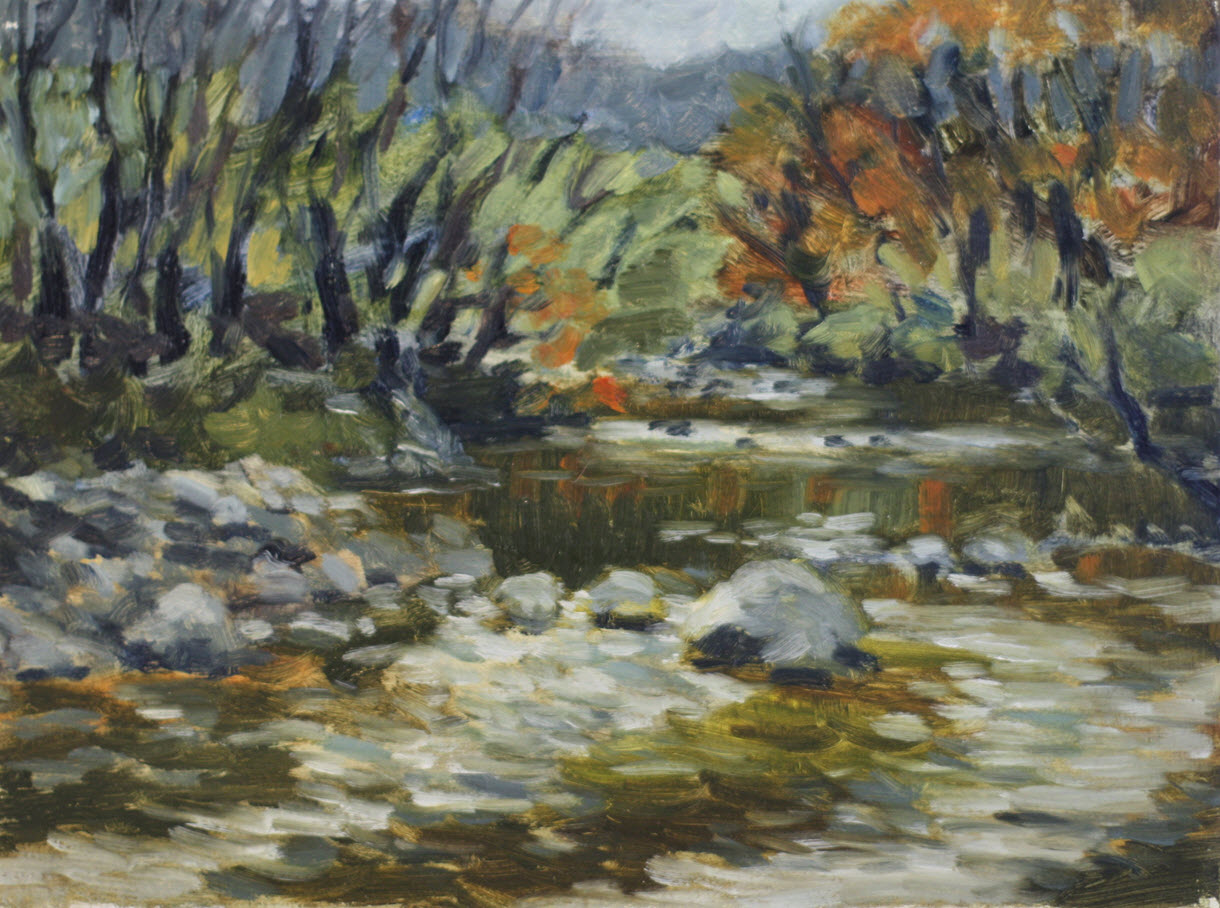 Maitai River Rapids  (2019, Week 19). 230 mm x 305 mm. Oil on Panel.