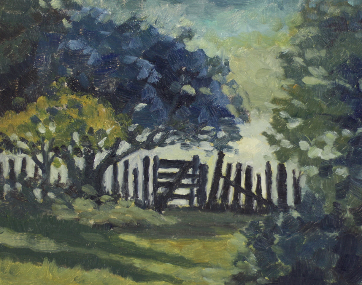 Gate to Orchard  (2019, Week 18). 230 mm x 305 mm. Oil on Paper.