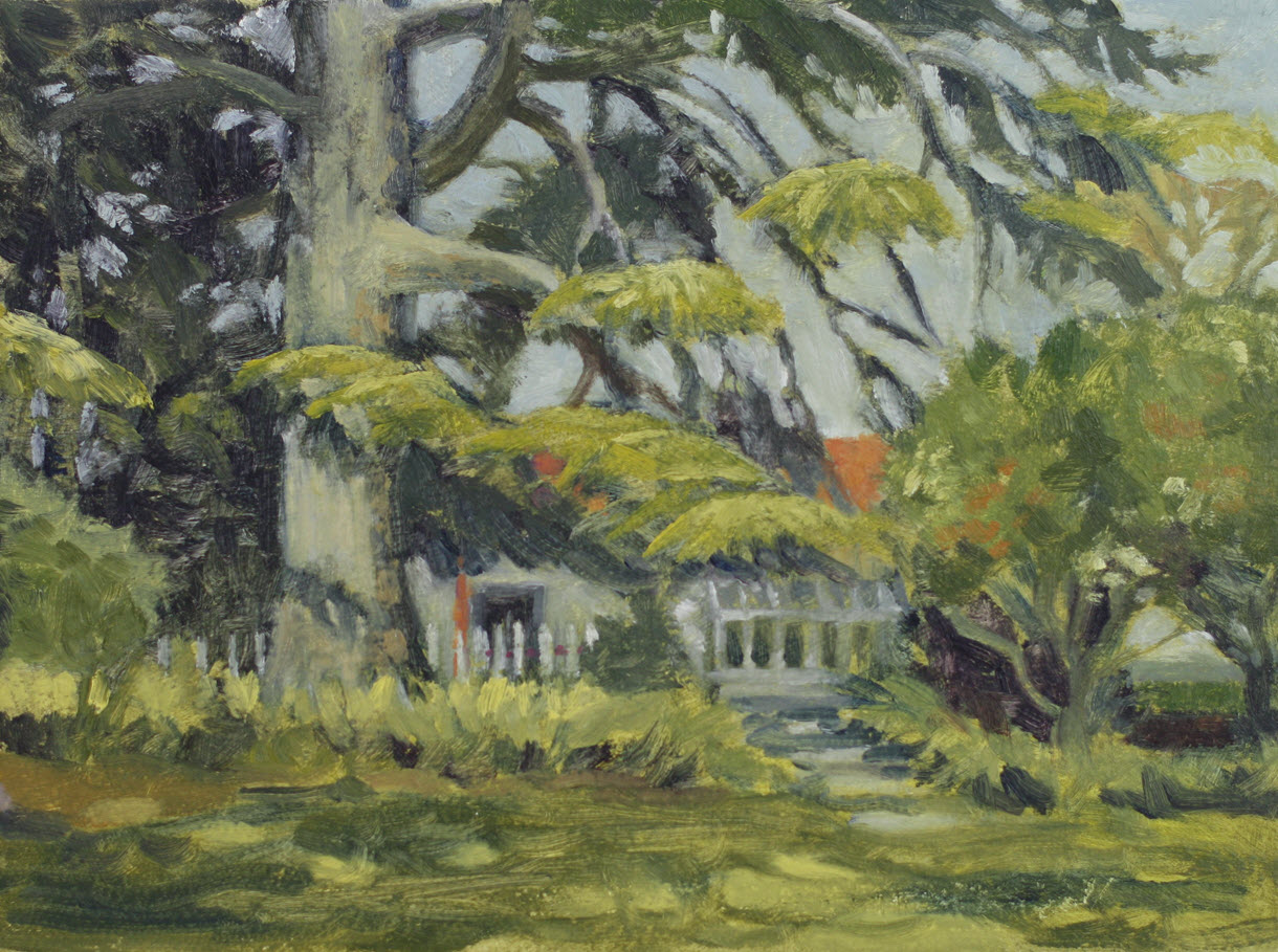 At Broadgreen Gardens  (2019, Week 10). 230 mm x 305 mm. Oil on Panel.