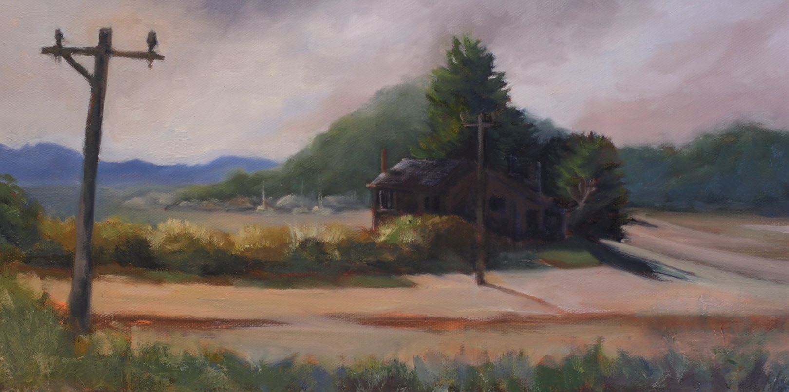 Ligar Bay Bach  (2019, Week 2). 205 mm x 400 mm. Oil on Canvas.