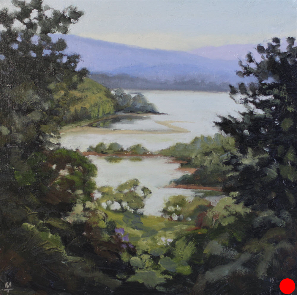Golden Bay Through Trees  (2018). 250 mm x 250 mm. Oil on Canvas.