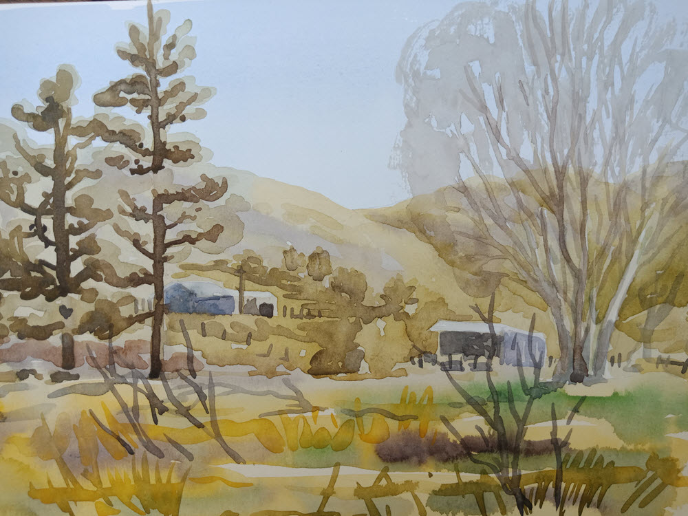 Maitai Farm  (2018). 205 mm x 250 mm. Watercolour on Paper.