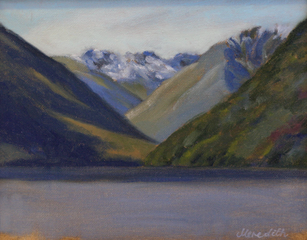 Lake Rotoiti Lake Head  (2018). 200 mm x 255 mm. Oil on Panel (Framed).