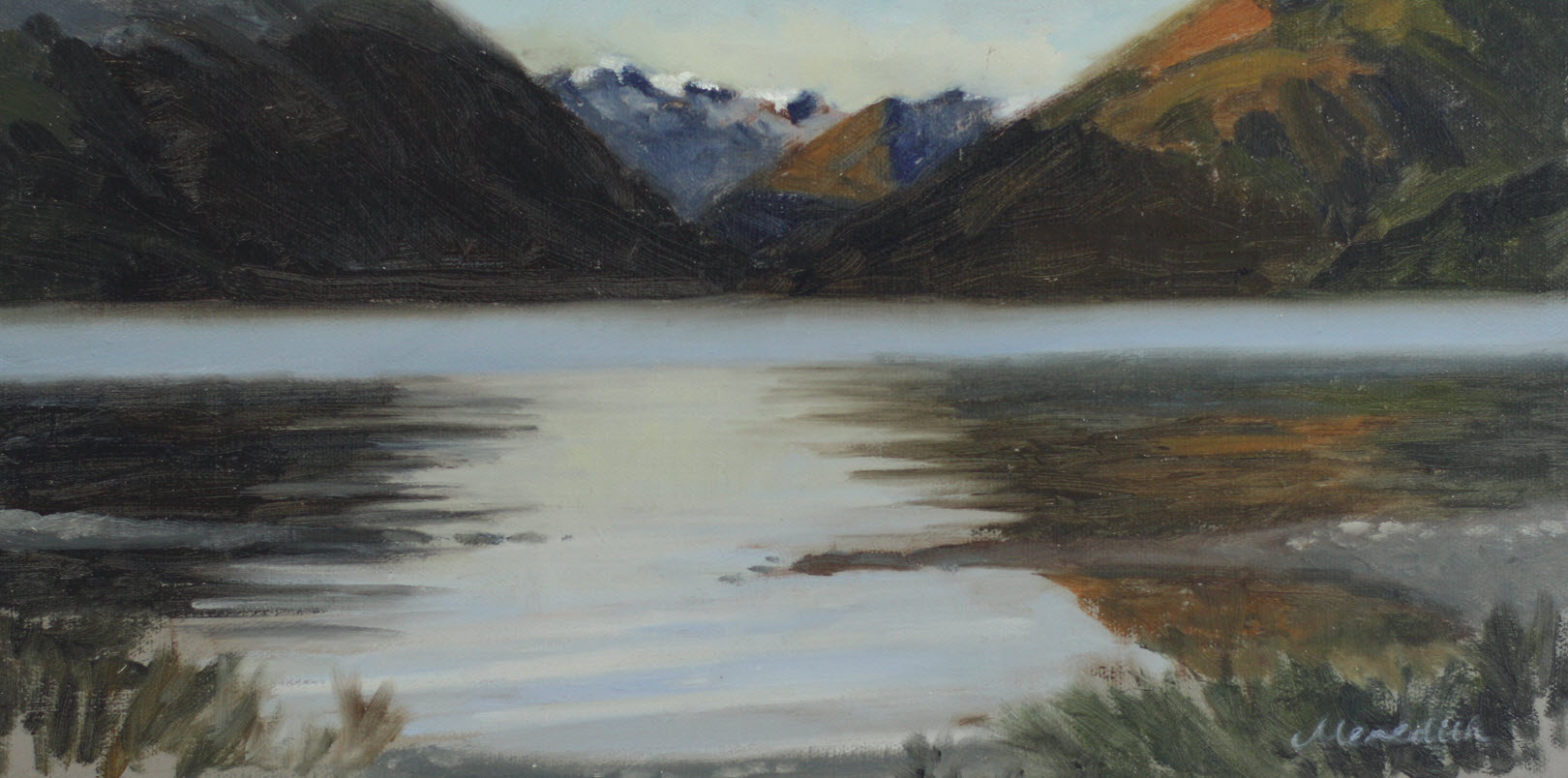 Lake Rotoiti Early Morning Mist  (2018). 290 mm x 410 mm. Oil on Canvas.