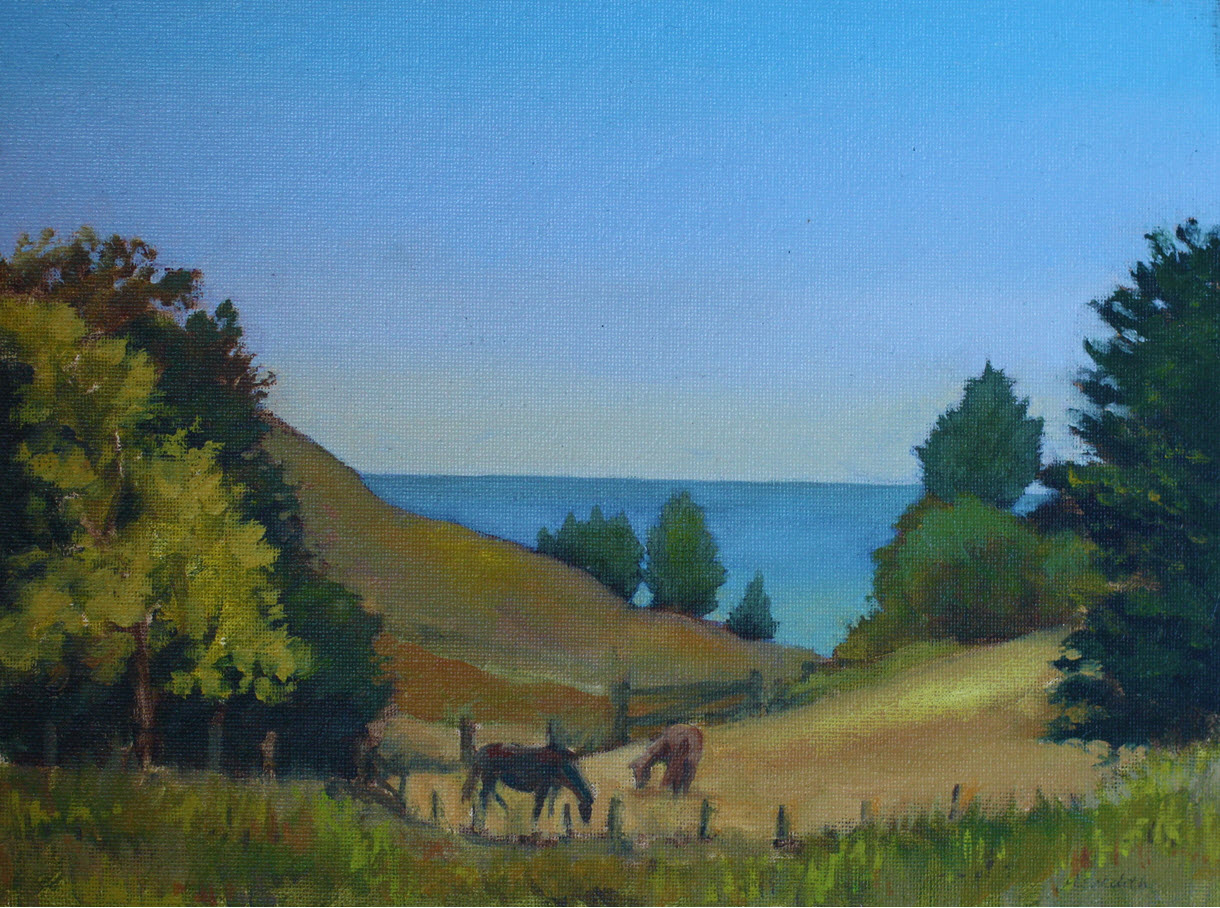 Farm View Horses  (2018). 230 mm x 305 mm. Oil on Panel.