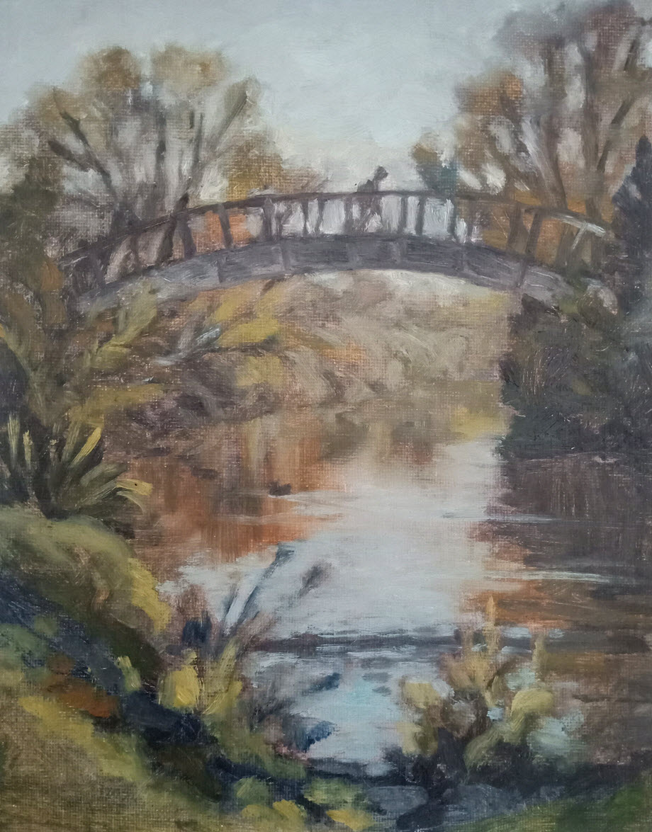 Maitai Bridge  (2019, Week 21). 305 mm x 230 mm. Oil on Panel.