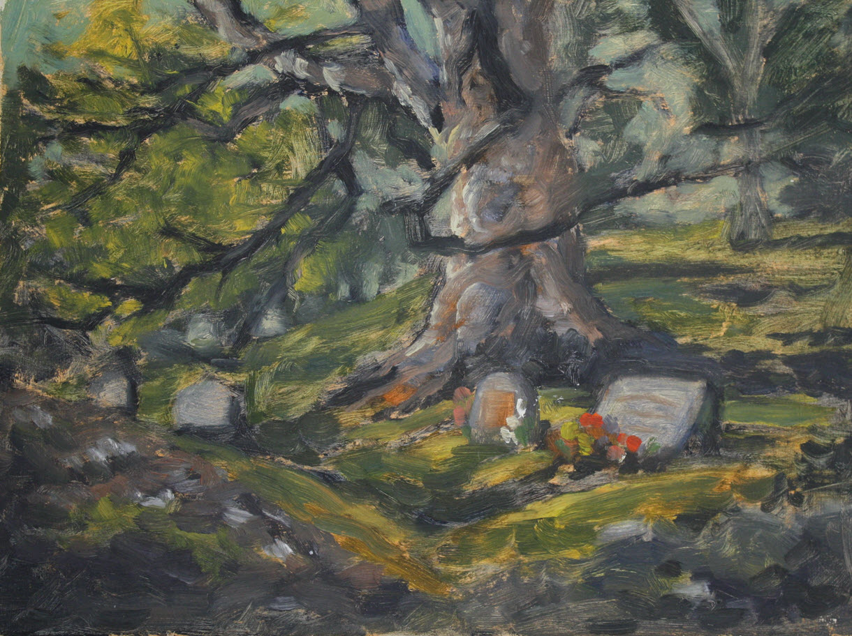 Grandparents Graves  (2019, Week 22). 230 mm x 305 mm. Oil on Panel.