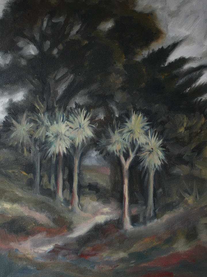 Parapara Trees, Golden Bay  (2019). 460 mm x 360 mm. Oil on Canvas.
