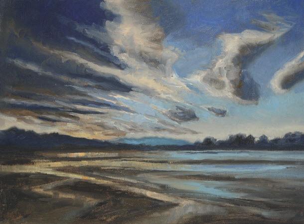 Estuary Towards Motueka  (2019). 230 mm x 305 mm. Oil on Canvas.