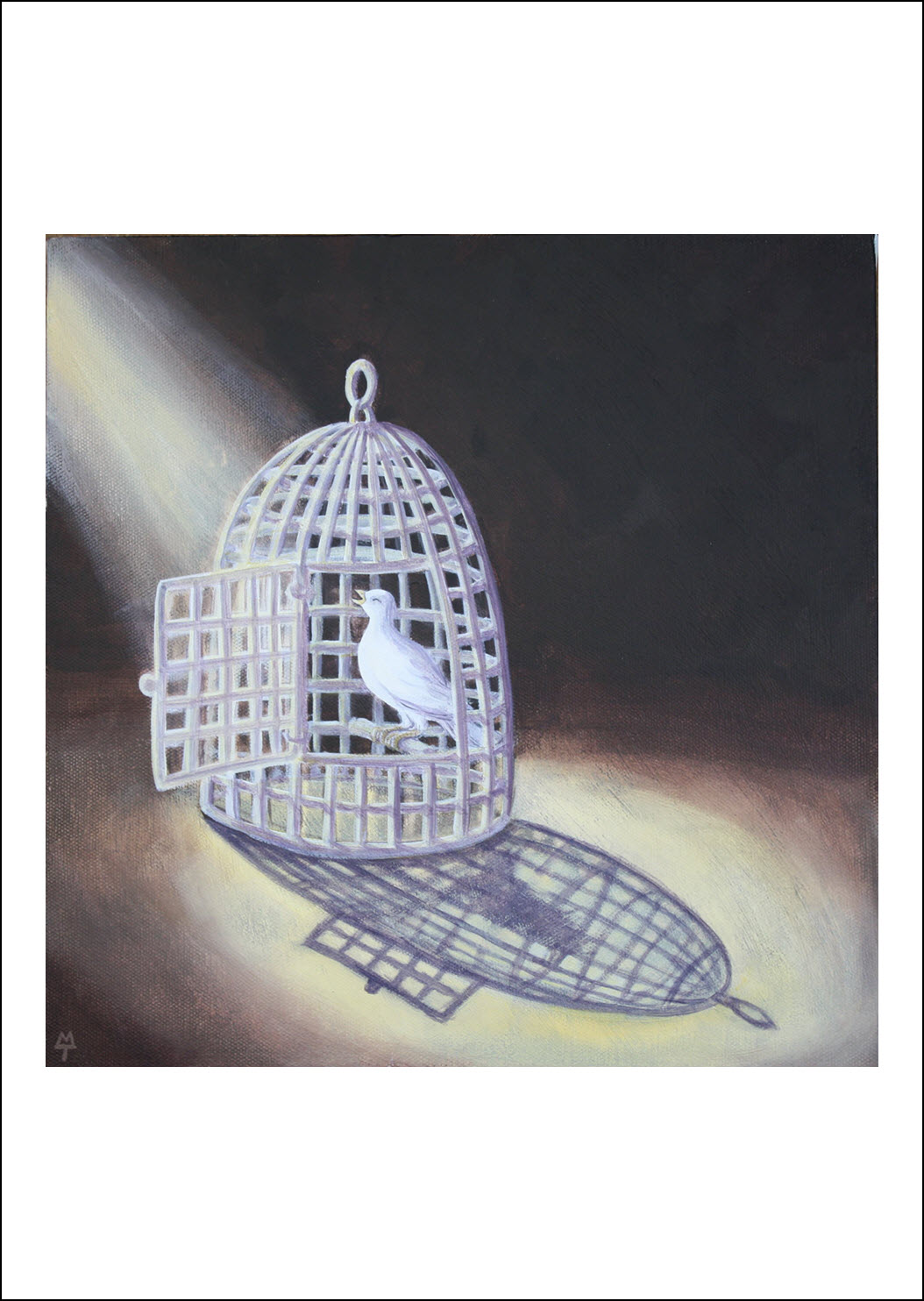 """37. Freedom   Many see having faith in God as a trap; a loss of freedom. But I can leave any time, the door is open! This """"cage"""" offers safety, security and hope, In God's safe place I can sing!"""