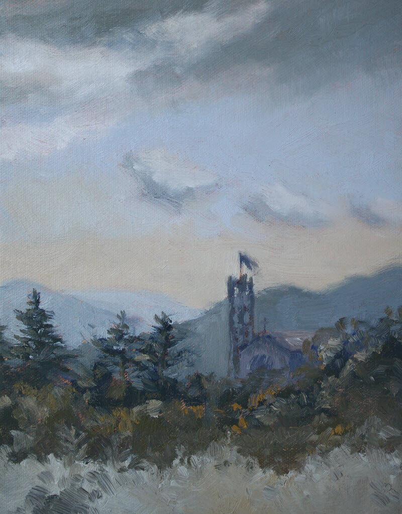 The Nelson Cathedral From Our Deck  (2019, Week 35). 255 mm x 200 mm. Oil on Canvas.