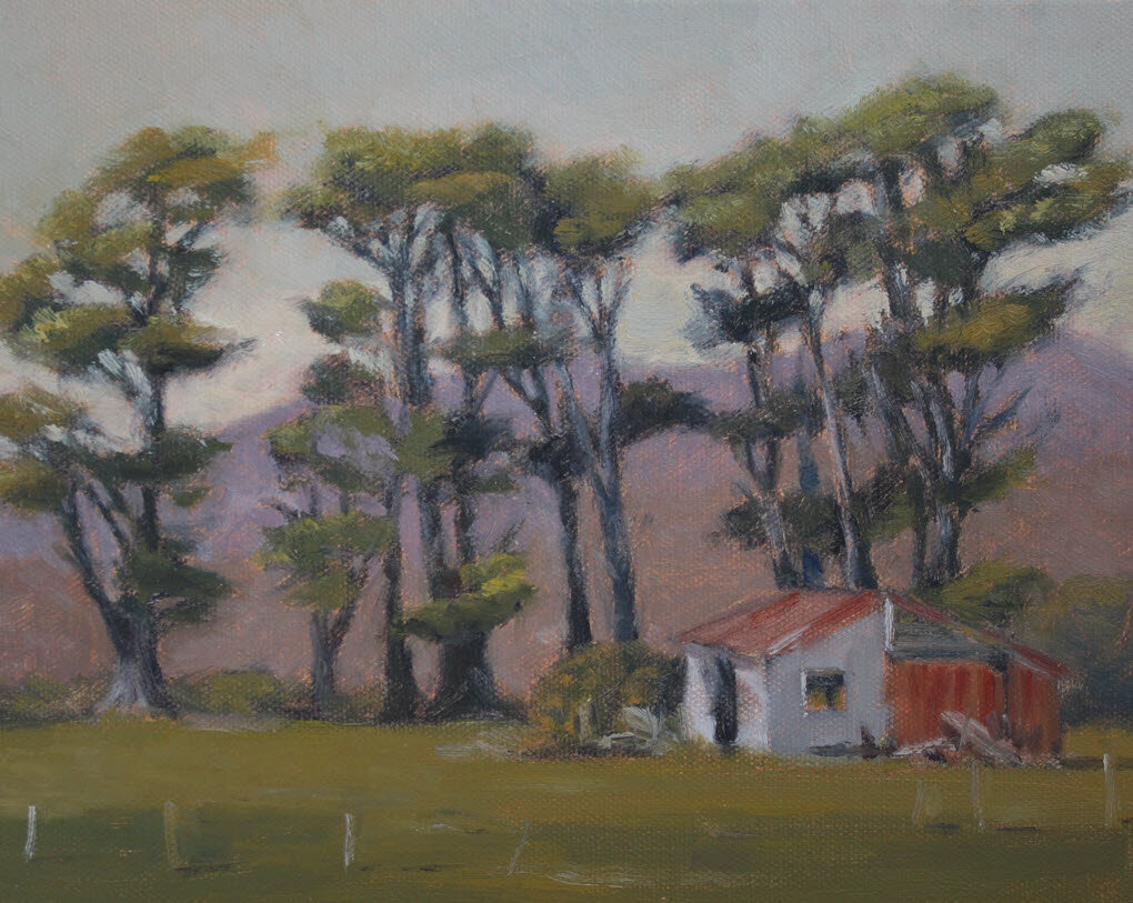 The Stables, Bainham, Golden Bay  (2019, Week 35). 200 mm x 255 mm. Oil on Canvas.