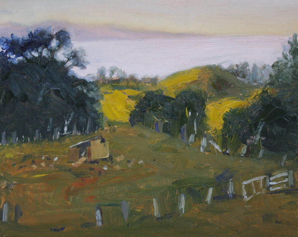 Thorpe's Chicken House Number One, Golden Bay  (2019, Week 36). 200 mm x 255 mm. Oil on Canvas.