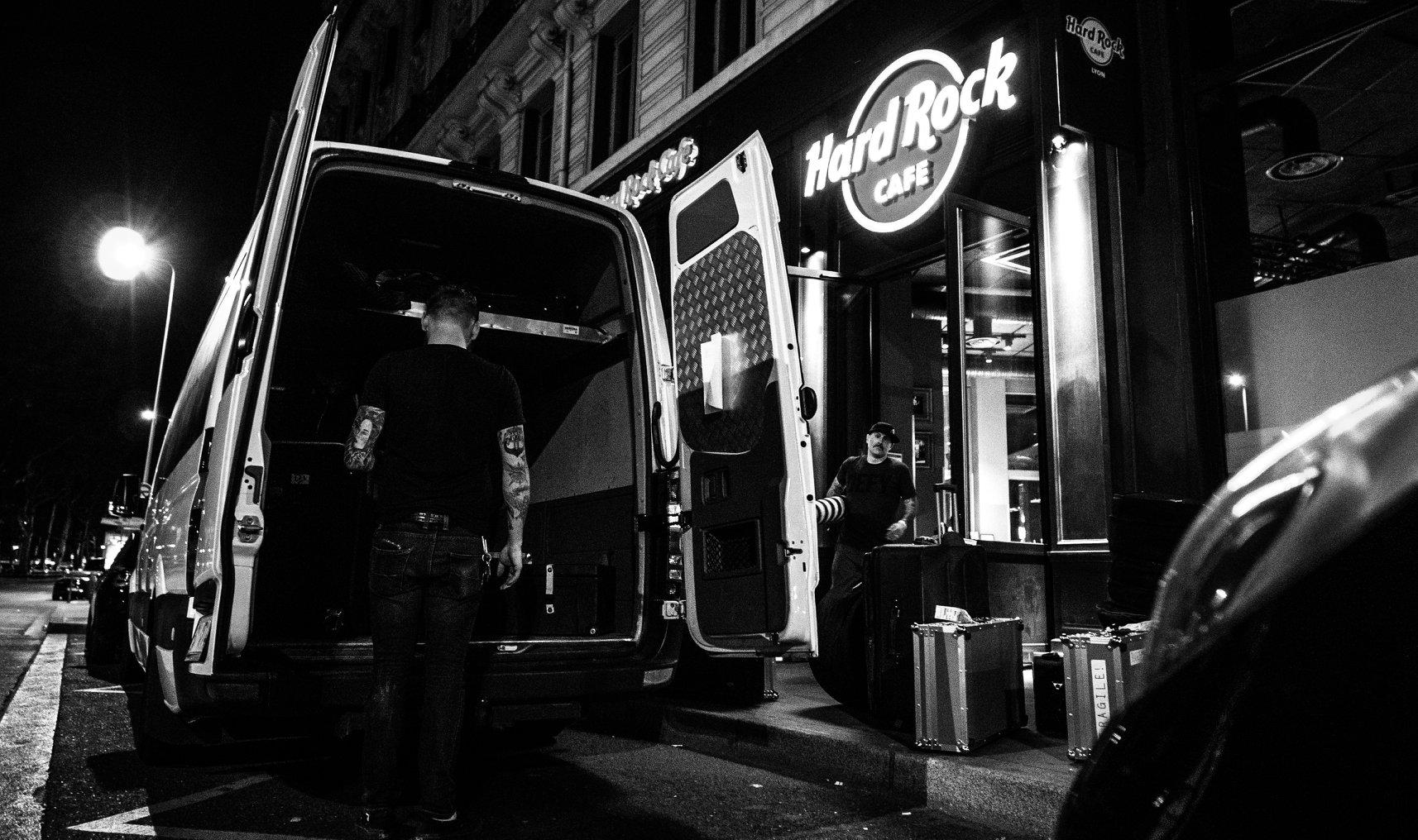 Outside Hard Rock Cafe. Lyon, France.